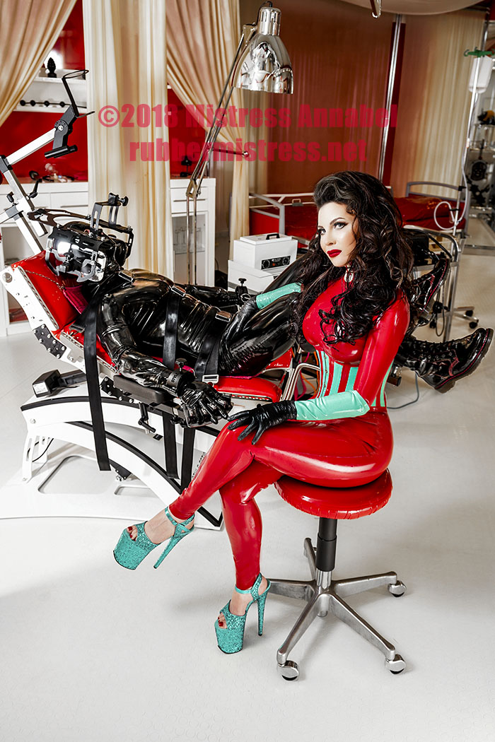 Why be tied to your desk, when you can be tied tightly and feel the beautiful Doctor's rubber gloves all over your body with London Medical Mistress.