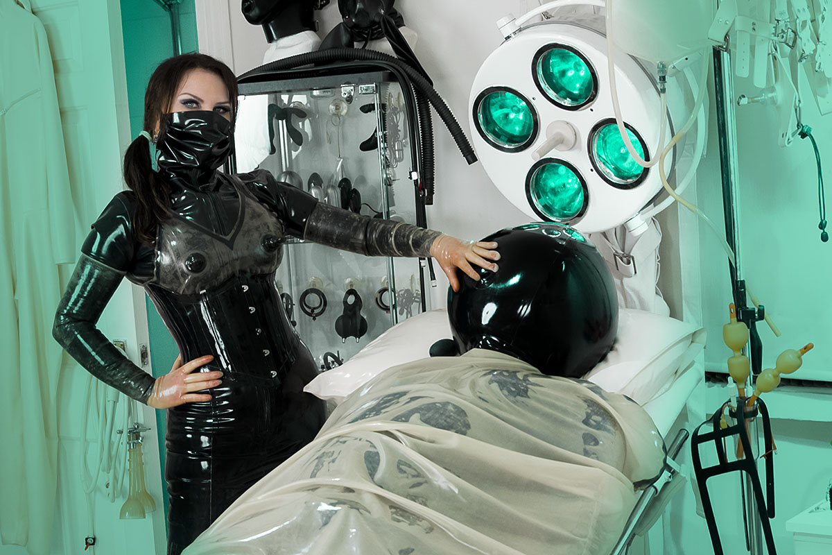 London Medical Mistress, Mistress Annabel, at work in Her London Fetish Clinic.